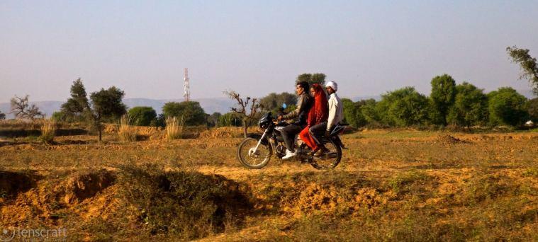 alongside the train / near bamanpura, india