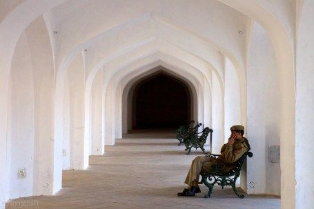 police in repose / amer fort, jaisalmer, india