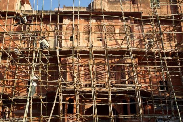 jaipur palace scaffolding / india