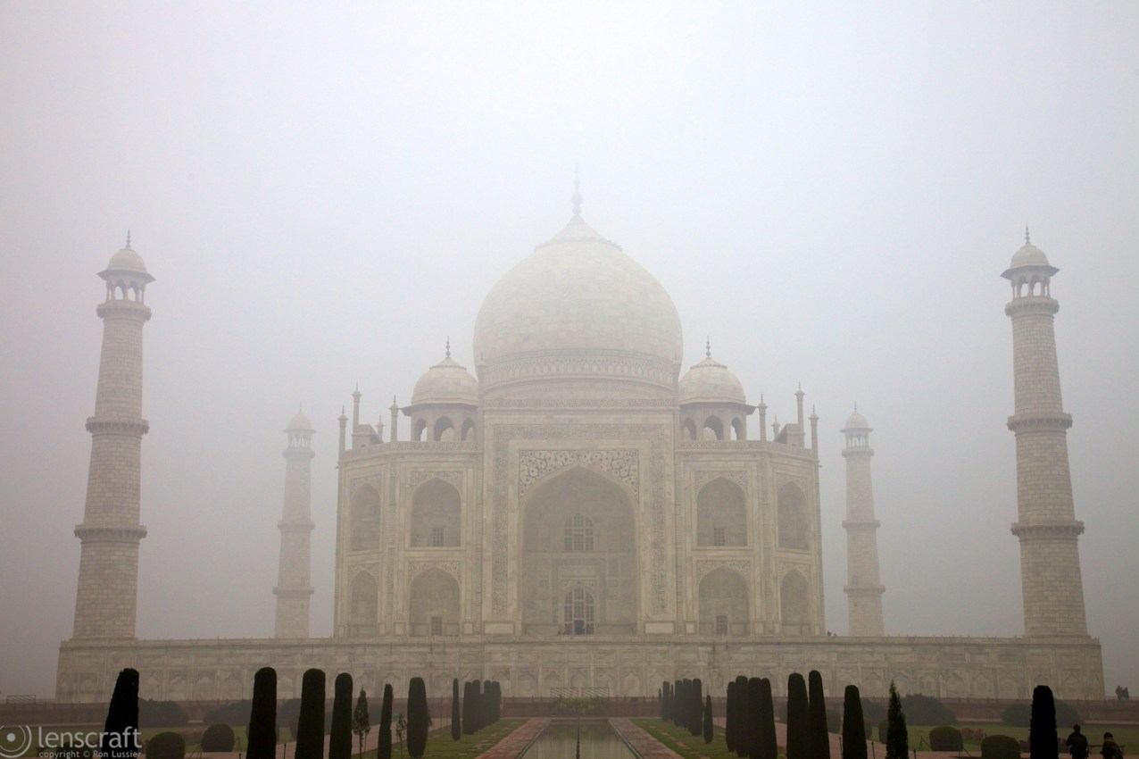 the taj mahal in fog / agra, india