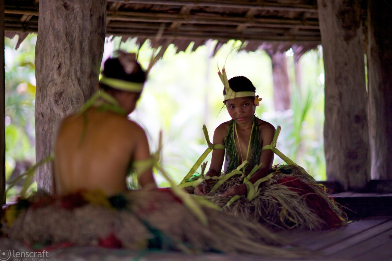 girls gossiping in the meeting house / yap, micronesia