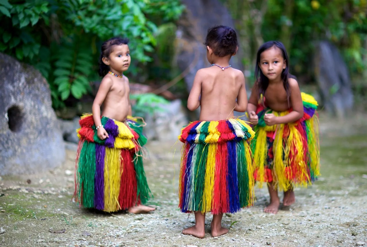 three girls at play / yap, micronesia