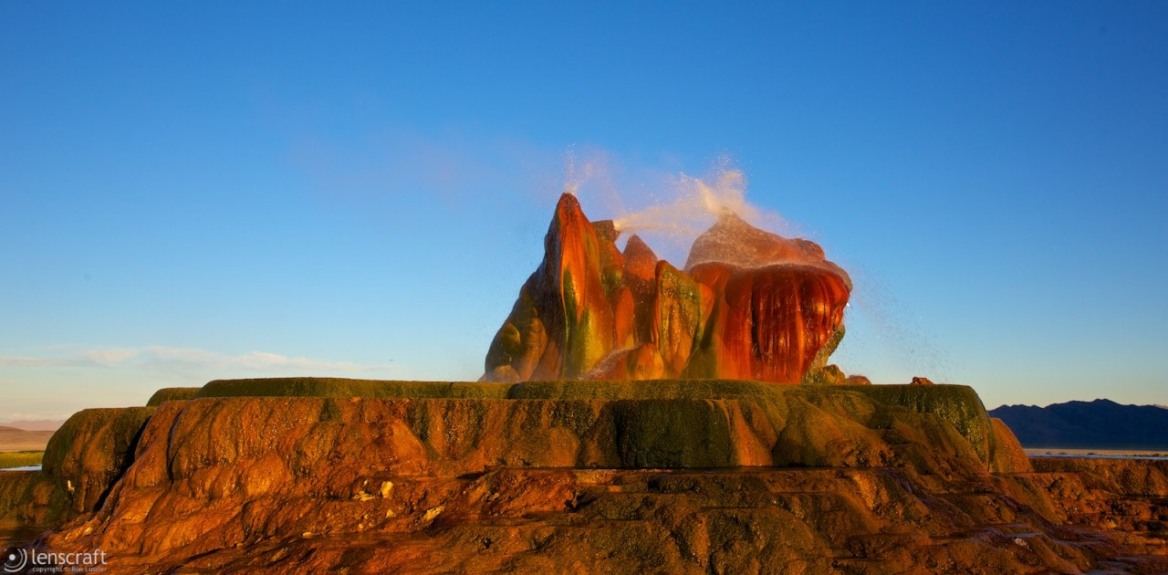 fly geyser at sunset / fly ranch, nevada