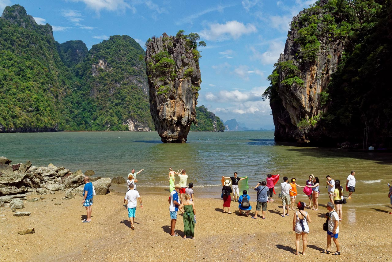 james bond island with a crowd / phang nga, thailand