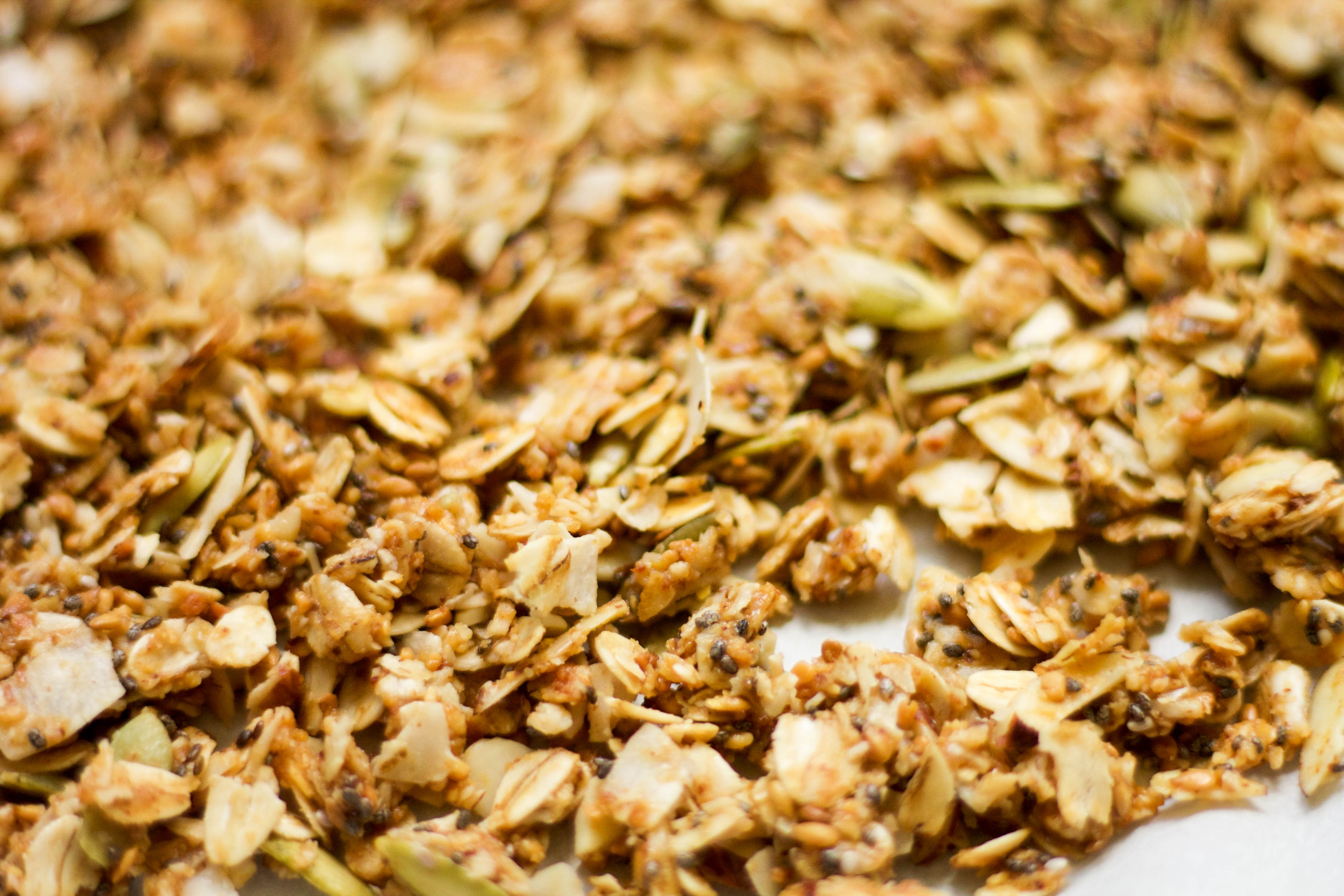 hot 'n spicy coconut granola close up