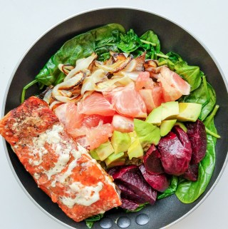 rainbow baked salmon bowl
