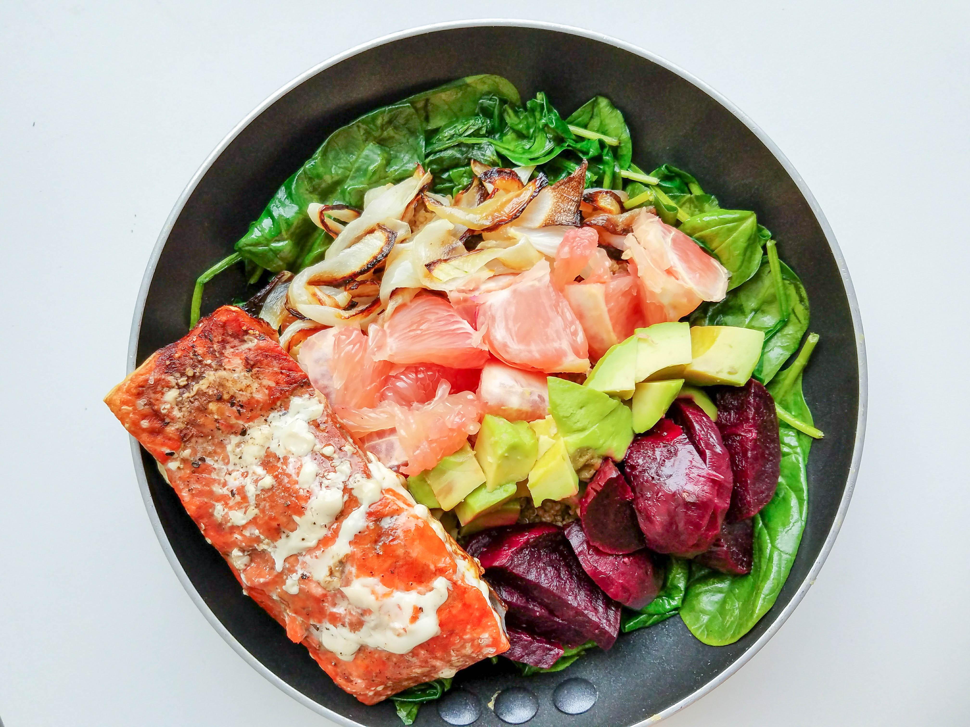 rainbow baked salmon bowl