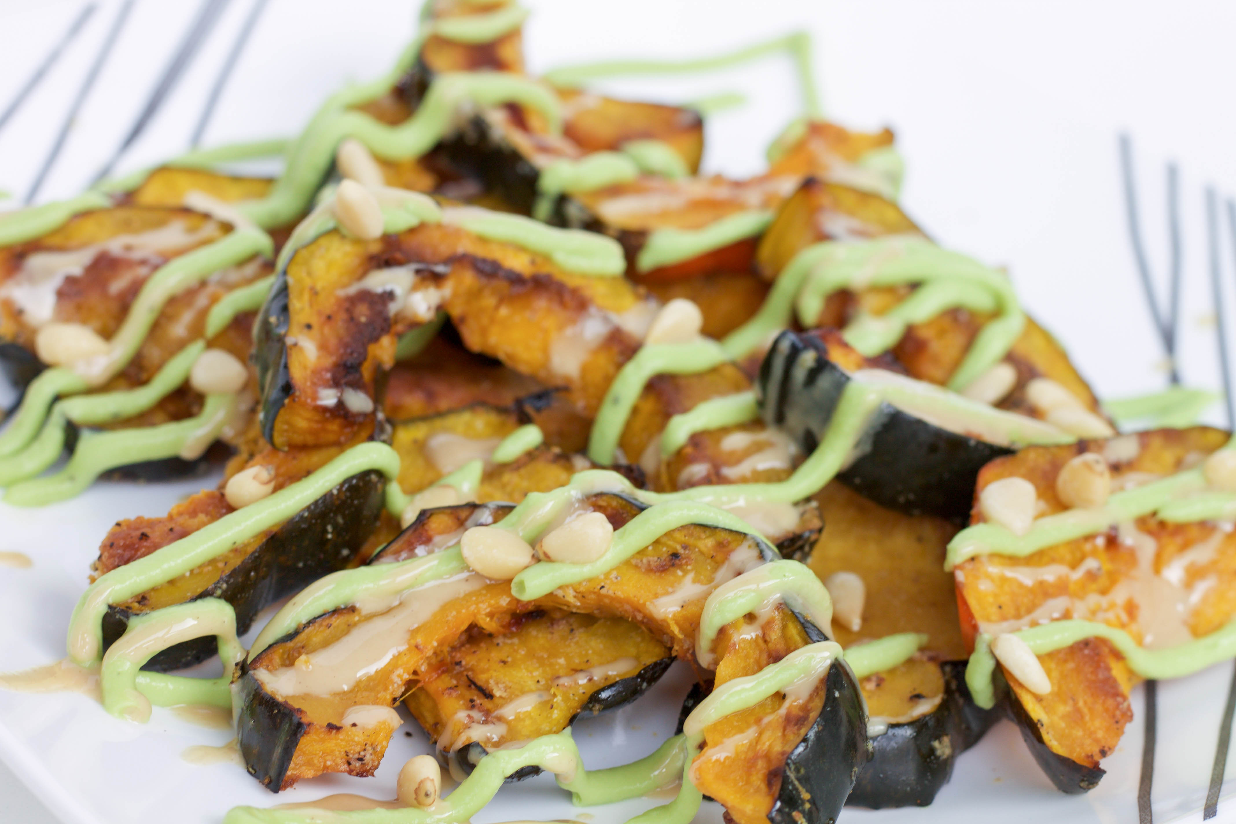 roasted acorn squash with avocado sauce