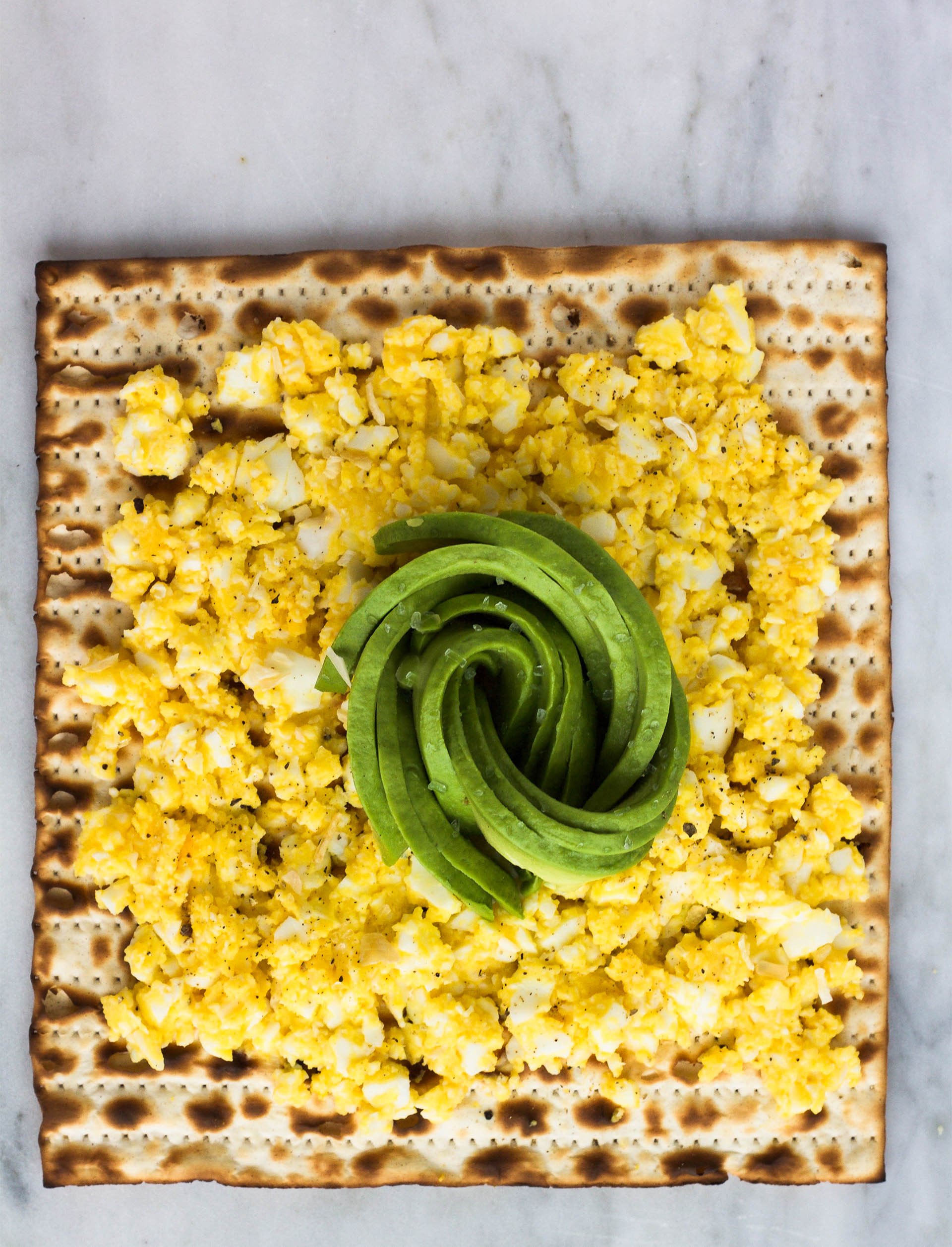 matzah with egg and avocado