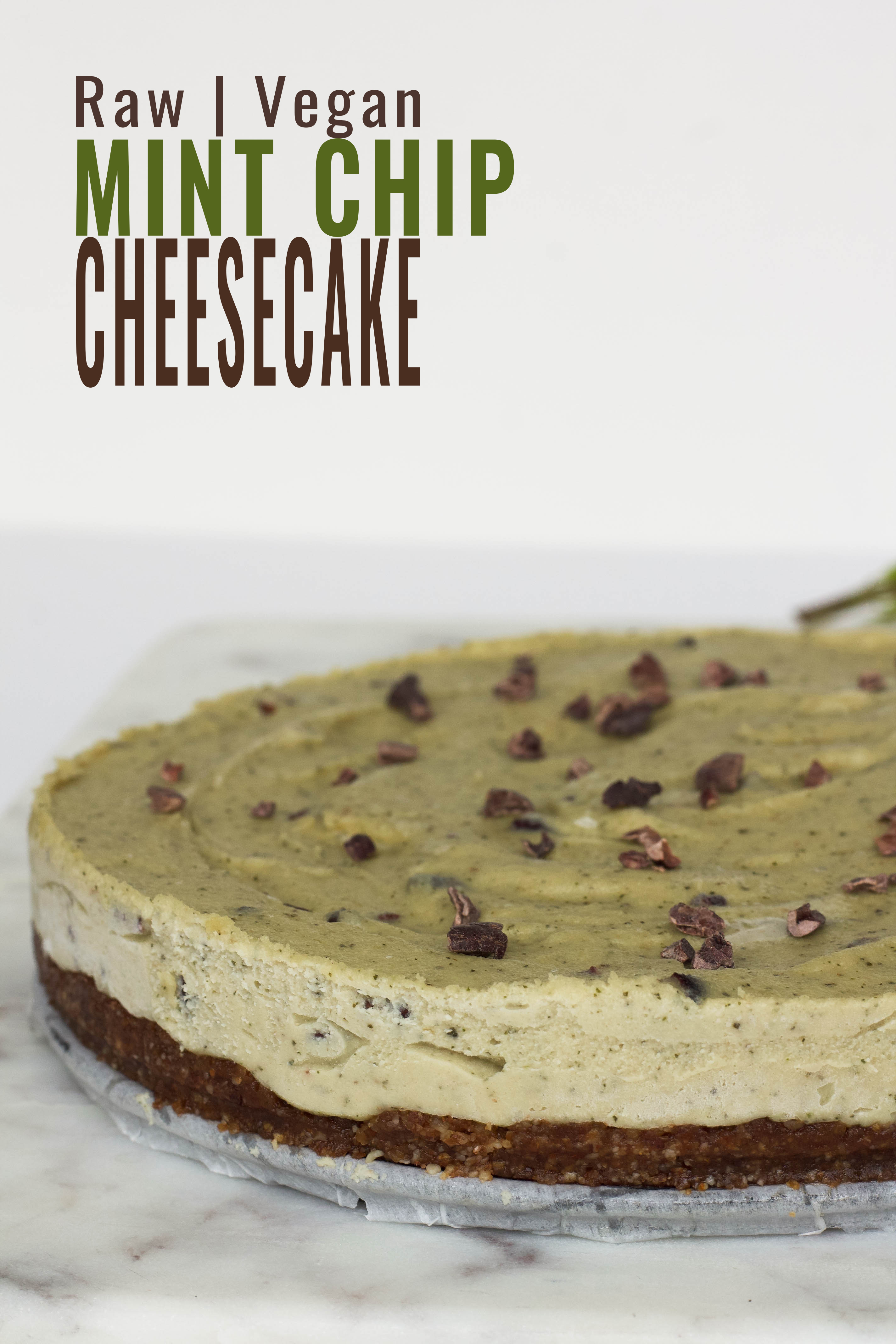 raw vegan mint chip cheesecake