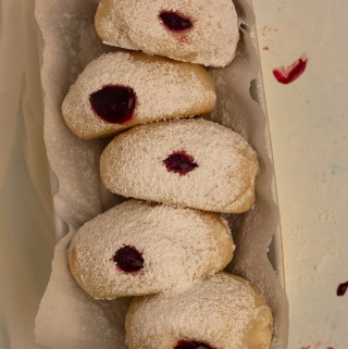 baked sufganiyot with blackberry jam