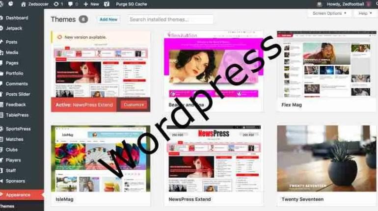 Wordpress design dashboard