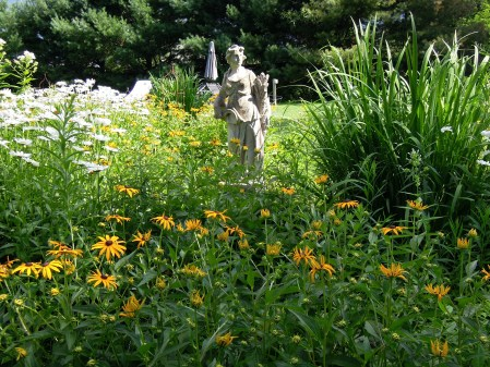 Statuary among the flowers
