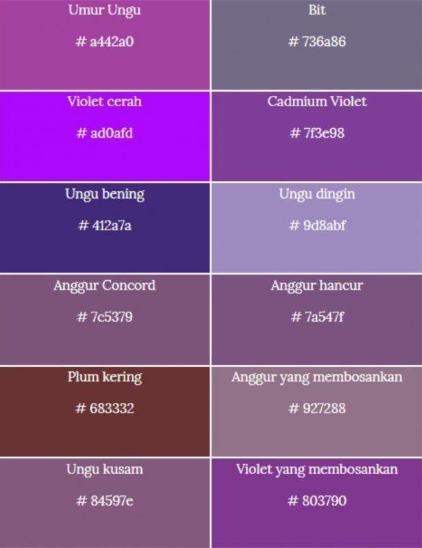 macam-macam warna ungu dan kode ungu 2