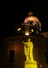 This statue was actually at a square. The angle takes in the statue, the circular building at the rear and the dome of a third building rearmost.