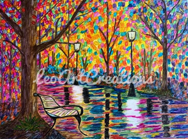 Impressionist Night in Paris Leo Art Creations