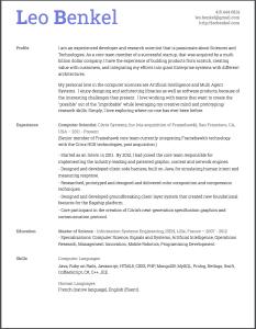 Resume of Leo Benkel for 2016