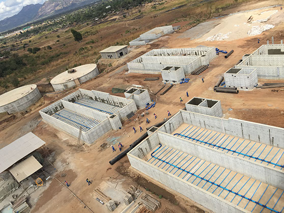 Cuambwa - Aerial View of Sand filter / roughing filter pipework