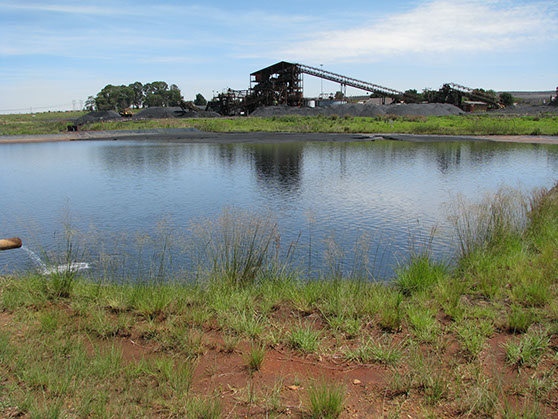 Evaporation pond for coal mine in Mpumalanga
