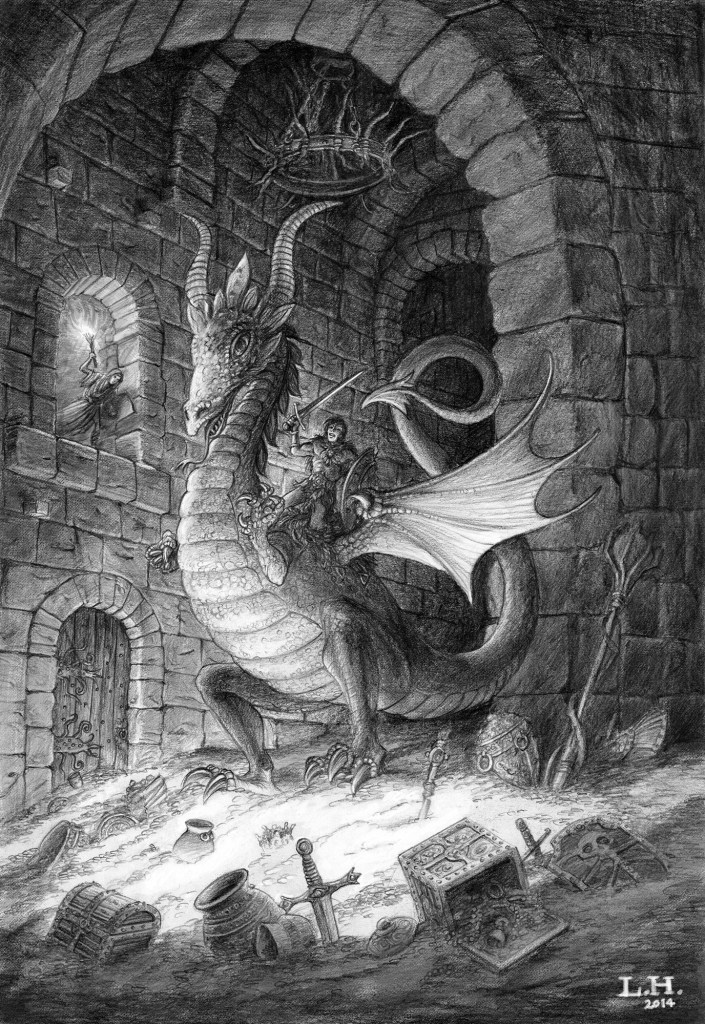 Dragon drawing in pencil by Leo Hartas