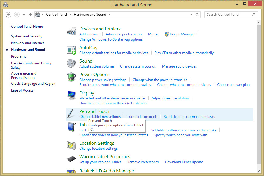 Windows 8 Control Panel Hardware and Sound.