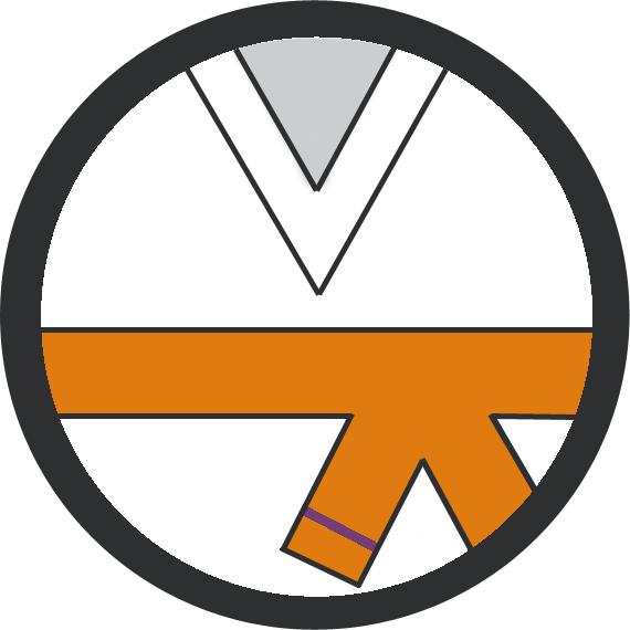 Leominster Martial Arts Orange Belt 1 Purple stripe icon