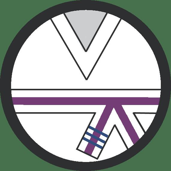Leominster Martial Arts_Rank_Purple Middle 3 Blue Stripes