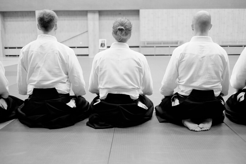 Leominster Martial Arts_aikido group on mat sitting