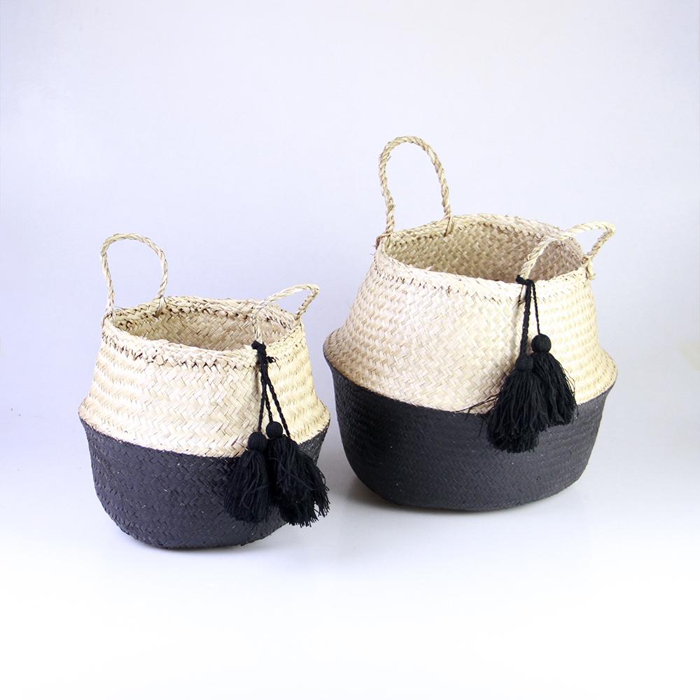 Seagrass Belly Basket - Dipped white bottom, 3 white tassels