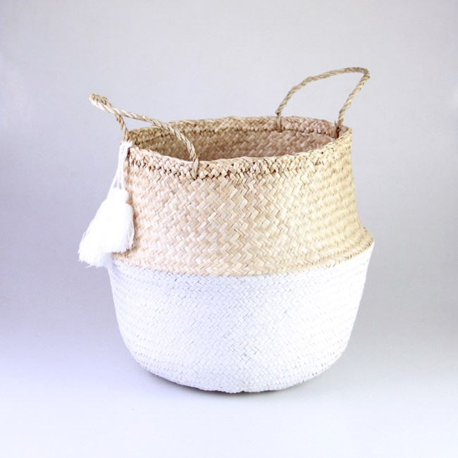 Seagrass Belly Basket - Dipped white bottom, 3 white tassels