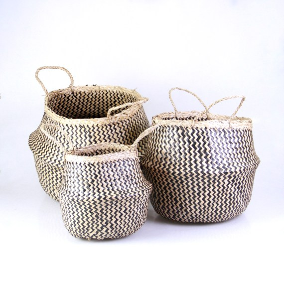 Seagrass Belly Basket - Black Zigzag pattern