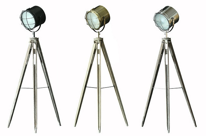 Solid Wood Tripod Searchlight Floor Lamp