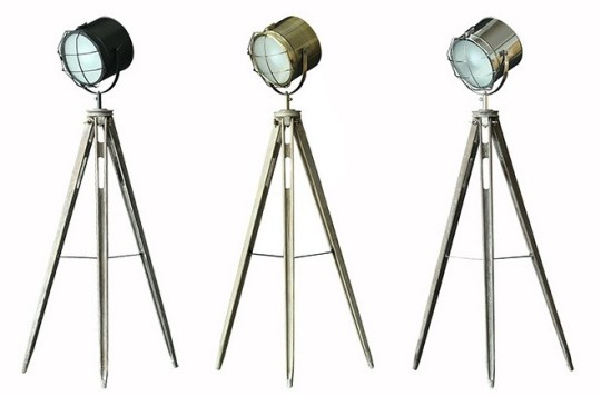 Solid Wood Tripod Searchlight Floor Lamp