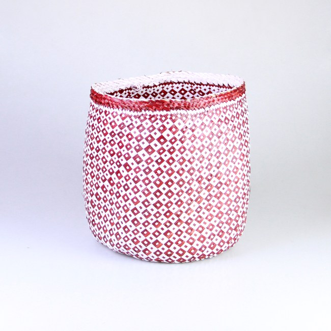 Seagrass Basket Red White Weave Design