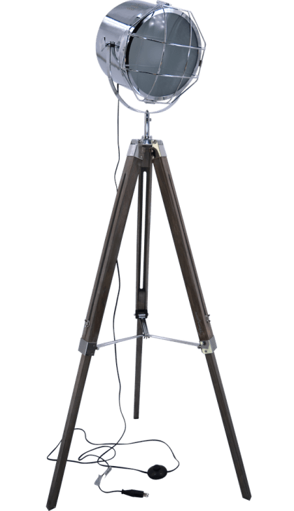 Nordic American Adjustable Tripod Searchlight Lamp by Leonard & Hazel, chrome tall