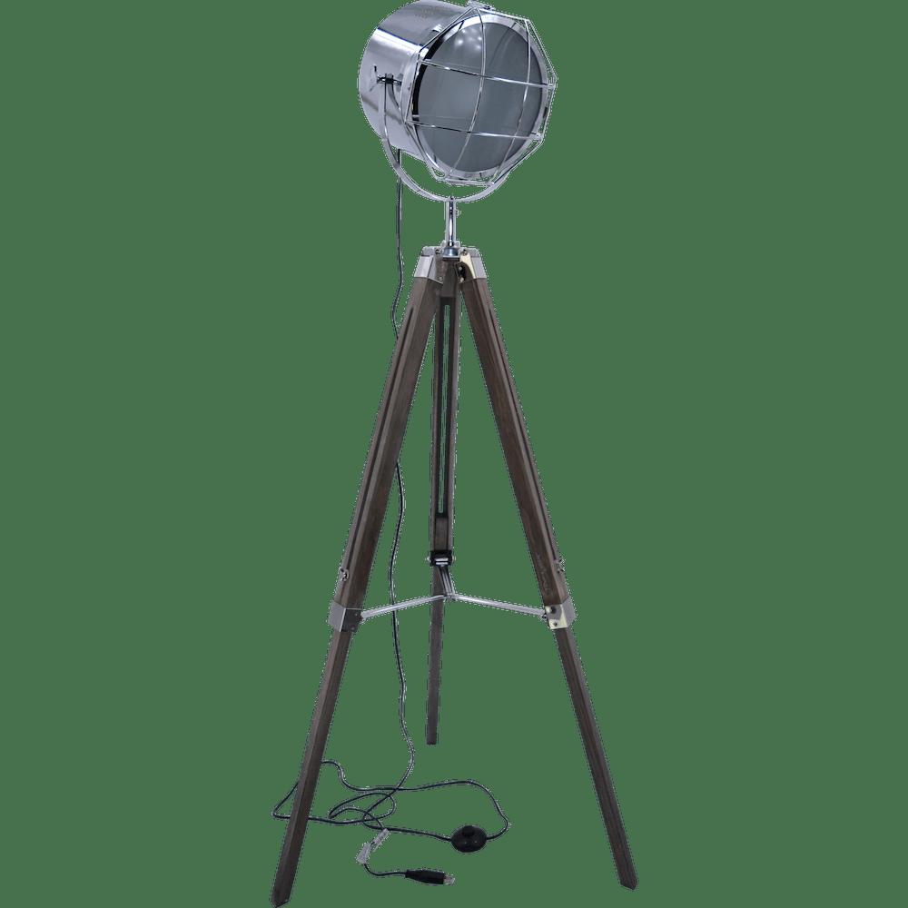 Nordic American Adjustable Tripod Searchlight Lamp by Leonard & Hazel, chrome tall