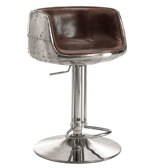 Mos Neata Vintage Aviation Aluminium Bar Stools with Chestnut Brown Genuine Leather