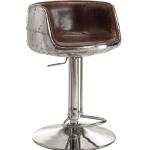 Mos Neata Vintage Aviation Aluminium Bar Stools with Chestnut Brown Genuine Leather