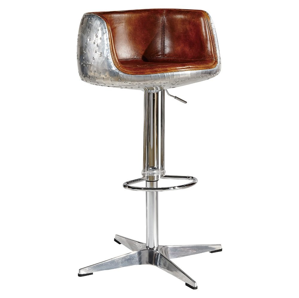 Outstanding Mos Neata Aviation Aluminium Bar Stool With Genuine Leather Short Links Chair Design For Home Short Linksinfo