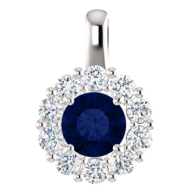14K White Blue Sapphire & 1:2 CTW Diamond Pendant from Leonard & Hazel™