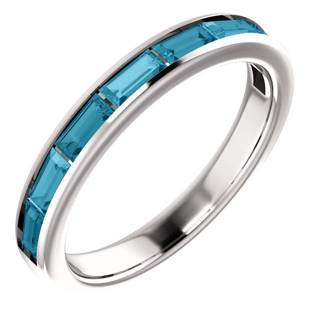 14K White London Blue Topaz Ring
