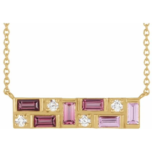 14K Yellow Pink Multi-Gemstone & 1:8 CTW Diamond Bar Necklace from Leonard & Hazel™
