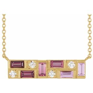 14K Yellow Pink Multi-Gemstone & 1:8 CTW Diamond Bar Necklace from Leonard & Hazel™