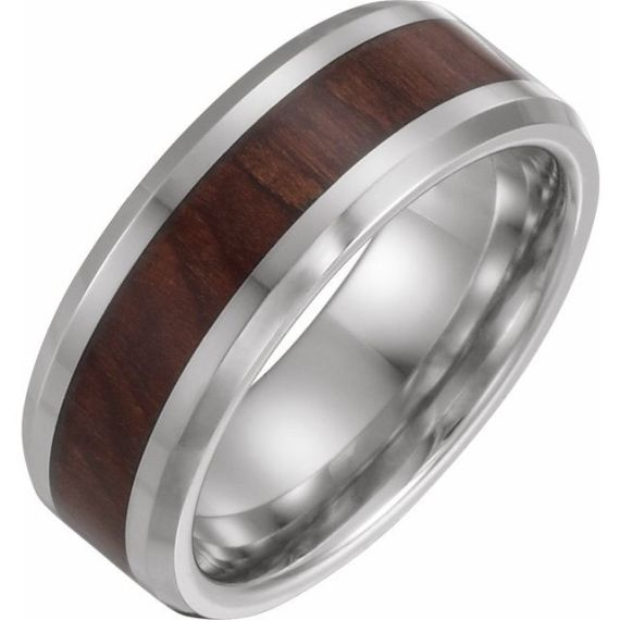 Cobalt 8 mm Beveled-Edge Band with Wood Inlay