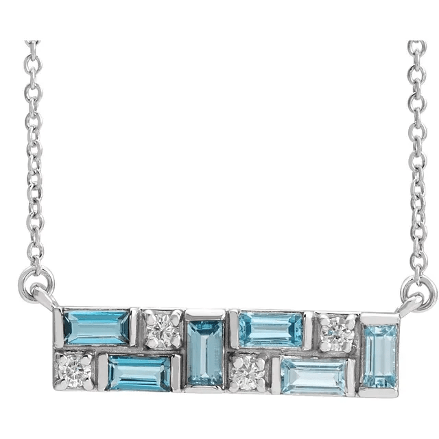 Platinum Blue Multi-Gemstone & 1:8 CTW Diamond Bar Necklace from Leonard & Hazel™