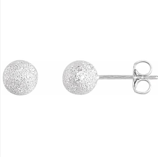 Sterling Silver 6 mm Stardust Ball Earrings from Leonard & Hazel™