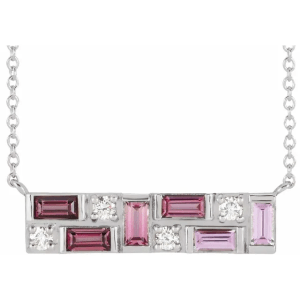 Sterling Silver Pink Multi-Gemstone & 1:8 CTW Diamond Bar Necklace from Leonard & Hazel™