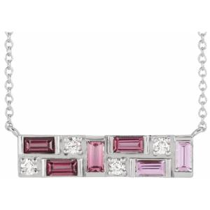Sterling Silver Pink Multi-Gemstone & 1:8 CTW Diamond Bar Necklace from Leonard & Hazel™