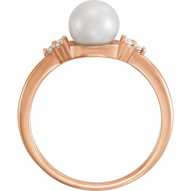 14K Rose Gold 6.5-7 mm Freshwater Cultured Pearl & .09 CTW Diamond Ring from Leonard & Hazel™