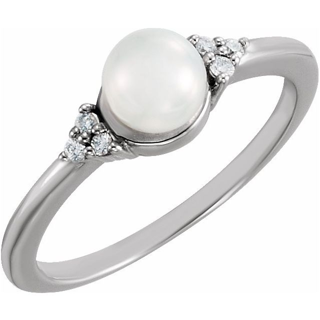 14K White Gold 5.5-6 mm Freshwater Cultured Pearl & .06 CTW Diamond Ring from Leonard & Hazel™